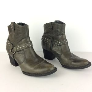 BORN Green Leather Side Zip Moto Boots Sz 8.5